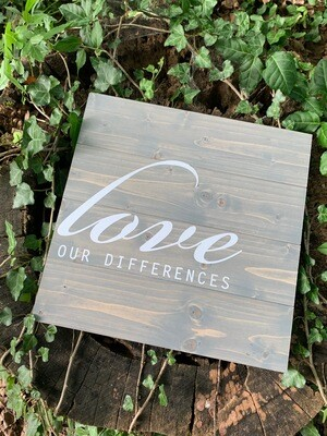 | love our differences | wood |