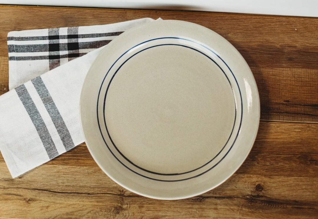 Steak Plate Blue Stripe