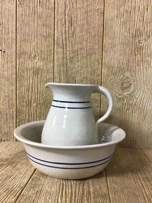 Wash Basin Set Blue Stripe