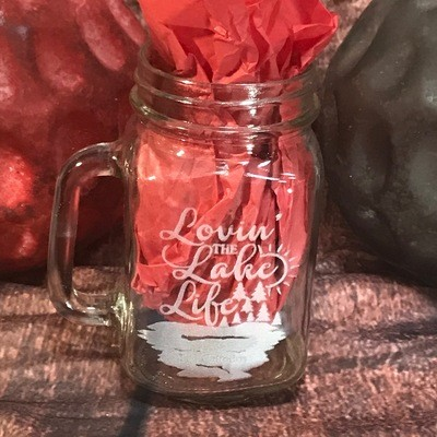 Etched Mason Jar