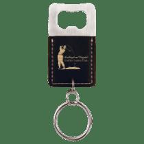 Leatherette Rectangle Bottle Opener Keychain
