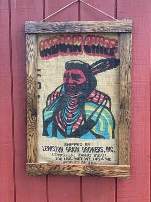 Vintage Wall Art, Grain Sack, Rustic Frame
