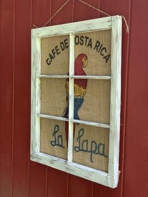 Vintage Wall Art, Burlap Coffee Bean Sack, Window Frame