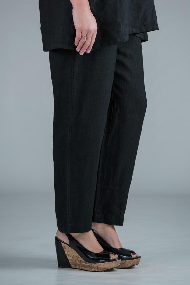 Pamela - Black linen trousers straight leg - short or medium length