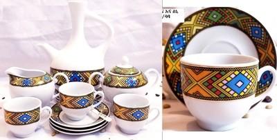 22 PCS | Ethiopian Eritrean Complete Coffee Ceremony Set Tilet የቡና ጀበና እና ስኒ ጥለት