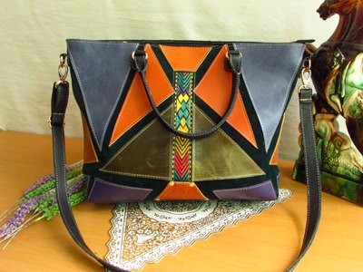 Colourful Leather Tote with Green Suede Base