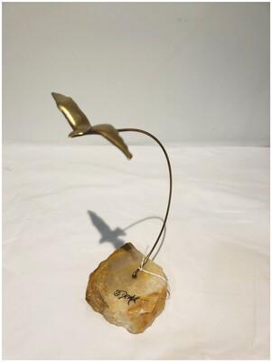 Vintage Signed DeMott Brass Seagull On Rock
