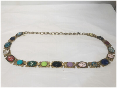 Vintage Multicolor Scarab Chain Belt
