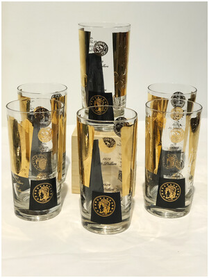 Mid Century Cera Coin Black & Gold Set of 6 Highball Glasses