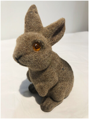 Vintage Bunny Bank In Brown Felt
