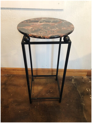 Marble & Iron Pedestal Table