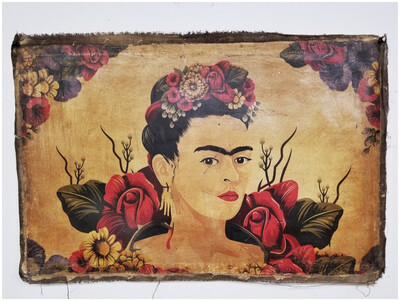 Reproduced Image of Frida on Antique Linen