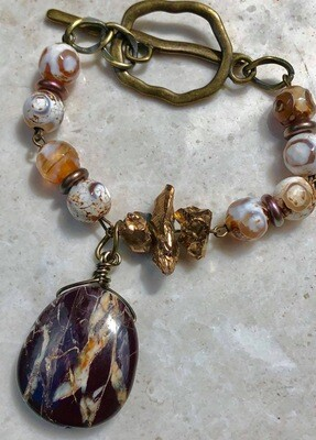 Jasper And Brass Bracelet