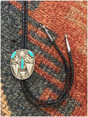 Vintage Alpaca Mexico Sterling Silver With Turquoise Bolo Tie