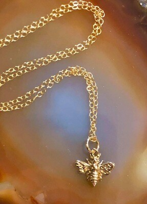 Handmade 14kt Gold Filled Chain, Gold Plated Petite Honeybee, 18""
