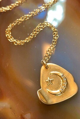 Handmade 14kt. Brush Gold Plated Pendant With Crescent Moon And Star, 18""