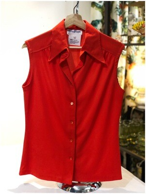 Vintage 1960's Three Flags Sleeveless Button Front Blouse