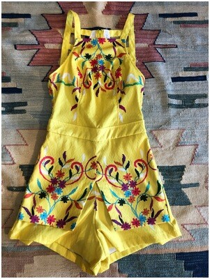 Modern Romper in Yellow with Colorful Flowers