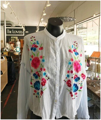 Embroidered Floral Boho Long Sleeve Blouse
