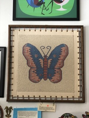Vintage Framed Navajo Styled Woven Butterfly