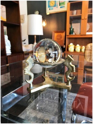 Glass Gazing Ball on Brass Stand