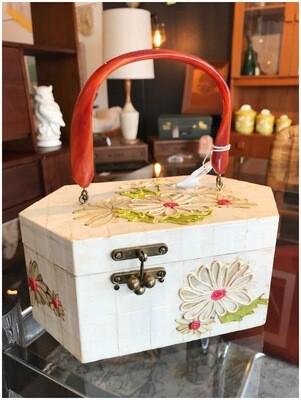 Vintage Daisy Flower Wood Box Purse