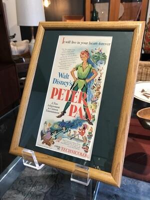 Vintage Framed Peter Pan Movie Ad