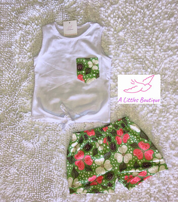 (160-1) Tie Tank w/ Floral Shorts 2T
