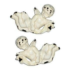 Charleston Knob Company VINTAGE WHITEWASHED PAIR OF CHERUBS CABINET KNOBS Size: 1.5