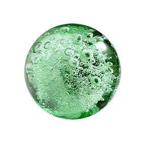 Charleston Knob Company  CRYSTAL BUBBLE GLASS AQUA GREEN  ROUND CABINET KNOB