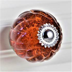 Charleston Knob Company  HONEY CRYSTAL GLASS HANDCRAFTED CABINET KNOB