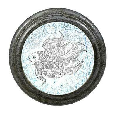 Charleston Knob Company  BLUE AND WHITE FISH PEWTER CABINET KNOB