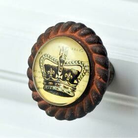 Charleston Knob Company ANTIQUE IRON W/GLASS INLAY KINGS CROWN CABINET KNOB