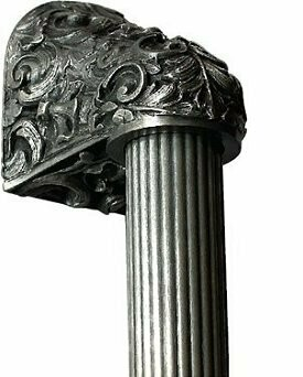 Notting Hill Cabinet Hardware Acanthus/Fluted Bar Brilliant Pewter Overall 16