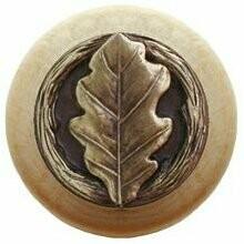 Notting Hill Cabinet Knob Oak Leaf/Natural Antique Brass 1-1/2