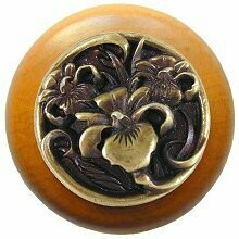 Notting Hill Cabinet Knob River Iris/Maple Antique Brass  1-1/2