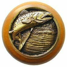Notting Hill Cabinet Knob Leaping Trout/Maple Antique Brass 1-1/2