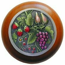 Notting Hill Cabinet Knob Tuscan Bounty/Cherry Pewter Hand Tinted  1-1/2