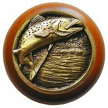 Notting Hill Cabinet Knob Leaping Trout/Cherry Antique Brass 1-1/2