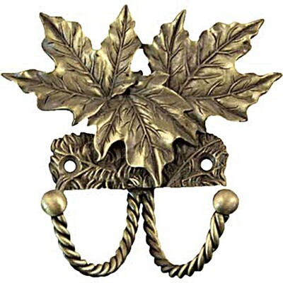 Sierra Lifestyles / Big Sky Cabinet Hardware Decorative Hook - Maple Leaf - Antique Brass