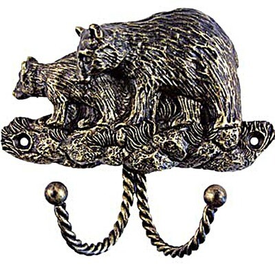 Sierra Lifestyles / Big Sky Cabinet Hardware Decorative Hook - Black Bear - Bronzed Black