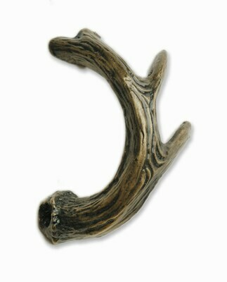 Buck Snort Lodge Hardware Cabinet Pull Deer Antler-Facing Left