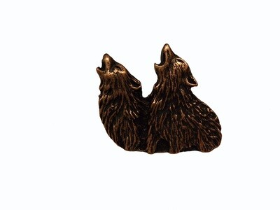 Buck Snort Lodge Hardware Cabinet Knob Dual Howling Wolves