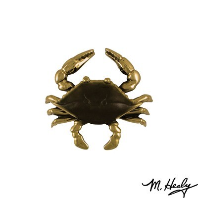 Michael Healy Designs Blue Crab Door Knocker - Brass/Brown Patina-Standard