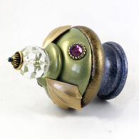 Susan Goldstick Finial Birdie in Jade and Light Sapphire Finial with Swarovski Crystals