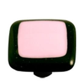 Hot Knobs Glass Cabinet Knob Black Border Petal Pink