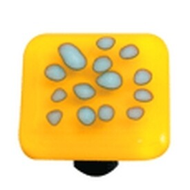 Hot Knobs Glass Cabinet Knob, Reactive Clear Sunflower Yellow