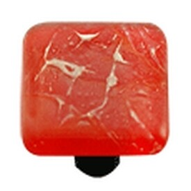 Hot Knobs Glass Cabinet Knob, Fractures Brick Red