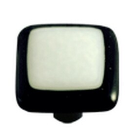 Hot Knobs Glass Cabinet Knob White with Black Border