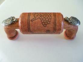 Vine Designs Cherry Cabinet Handle, matching cork, silver barrel accents
